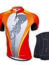 Nuckily Herr Kortärmad Cykeltröja med shorts - Orange Geometrisk Cykel Klädesset, Anatomisk design, Andningsfunktion, Reflexremsa, 3D