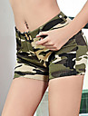 Women\'s Street chic Cotton Shorts Pants - Camouflage Tassel Green