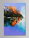 HANDMÅLAD Landskap Vertikal,Samtida Enkel Moderna Kanvas Hang målad oljemålning Hem-dekoration En panel
