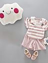 Bebelus Fete Set Îmbrăcăminte Dungi Bumbac Zilnic Vară Mânecă scurtă Simplu Bleumarin