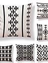 6 buc Textil Bumbac/In Față de pernă, Dungi Geometric Puncte & Carouri