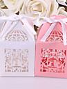 Square Shape Hârtie perlă Favor Holder cu Panglici Cutii de Savoare - 10pcs