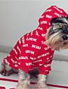 Hond Hoodies Sweatshirt Hondenkleding Letter & Nummer Rood Katoen Kostuum Voor Lente & Herfst Winter Casual / Dagelijks Houd Warm