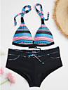 Dame Bloc Culoare Cu Bretele Bikini Costume de Baie Floral Bloc de Culoare Negru