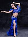 رقص شرقي أزياء أداء دانتيل أورجنزا ألياف الحليب دانتيل كشاكش كم قصير ارتفاع منخفض تنانير بلايز