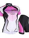 Nuckily Dam Kortärmad Cykeltröja med shorts - Blå Rosa Cykel Shorts Tröja Klädesset, Vattentät, UV-Resistent, Andningsfunktion,