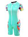 Malciklo Women\'s Short Sleeve Triathlon Tri Suit - Mint Green Bike Breathable Anatomic Design Reflective Strips Sweat-wicking Sports Polyester Spandex Coolmax® Geometry Clothing Apparel / Lycra