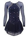 Figure Skating Dress Women's Girls' Ice Skating Dress Dark Blue Spandex High Elasticity Competition Skating Wear Quick Dry Anatomic Design Handmade Classic Long Sleeve Ice Skating Figure Skating
