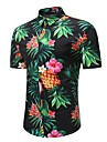 Bărbați Mărime Plus Size Cămașă Bumbac Boho / Chinoiserie - Floral Imprimeu / Manșon scurt