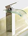 Moderno Conjunto Central Cascada Valvula Ceramica 1 Orificio Sola manija Un agujero Cromo, Bano grifo del fregadero