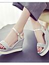 Pentru femei Pantofi PU Primăvară / Vară Confortabili Sandale Creepers Auriu / Argintiu