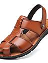 Bărbați Pantofi Piele Primăvară / Vară Confortabili / Tălpi cu Lumini Sandale Negru / Maro
