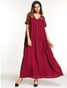Dámské Základní Cikánský Pouzdro Swing Šaty - Jednobarevné, Výšivka Maxi