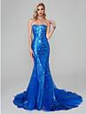 Trompetă / Sirenă In Formă de Inimă Mătura / Trenă Tulle / Paiete Strălucitor & Sclipitor Seară Formală Rochie cu Detalii Cristal de TS Couture®