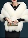 Γυναικεία Καθημερινά Φθινόπωρο / Χειμώνας Κοντό Γούνινο παλτό, Μονόχρωμο Λαιμόκοψη V Αμάνικο Ψεύτικη Γούνα Σκούρο γκρι / Γκρίζο / Κρασί Ένα Μέγεθος