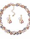 Pentru femei Set bijuterii - Minge Clasic, Modă Include Cercei Picătură / Coliere Choker Auriu / Argintiu Pentru Zilnic / Ceremonie / Σκουλαρίκια