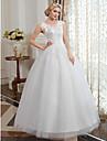 Salon Camiseta con cuello redondo Hasta el Suelo Tul / Encaje perlado Vestidos de novia hechos a medida con Apliques por LAN TING BRIDE®