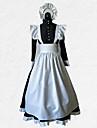 Costume menajeră Ținute Costume Bărbați Pentru femei Ținute Negru cu Alb Vintage Cosplay Poliester Lungime Manșon 3/4