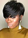 Ihmisen hiukset Capless Peruukit Aidot hiukset Laineita Pixie-leikkaus Luonnollinen hiusviiva Luonto musta Koneella valmistettu Peruukki