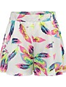 Women\'s Active / Basic Loose Shorts Pants - Animal Print High Waist White / Holiday / Beach