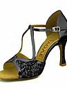 Pentru femei Pantofi Dans Latin / Pantofi Salsa Sclipici Spumant / Imitație de Piele Sandale / Călcâi Cataramă / Legătură Panglică Toc Personalizat Personalizabili Pantofi de dans Roșu / Argintiu