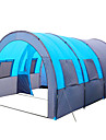 8 أشخاص خيمة نفق خيمة التخييم العائلية في الهواء الطلق خفة الوزن ضد الهواء التنفس إمكانية طبقة واحدة قطب الماسورة أنبوب و نفق خيمة التخييم ثلاث غرف 1000-1500 mm إلى صيد السمك Camping / Hiking