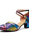 Pentru femei Pantofi Moderni Piele Originală Călcâi Paiete Grosime călcâială Pantofi de dans Curcubeu