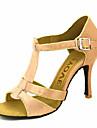 בגדי ריקוד נשים נעליים לטיניות / נעלי סלסה סטן / משי סנדלים / עקבים אבזם / עניבת פרפר עקב מותאם מותאם אישית נעלי ריקוד ברונזה / שקד / עירום / הצגה / עור / מקצועי