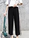 Women\'s Active Plus Size Cotton Shorts Pants - Solid Colored Black & White, Tassel Black