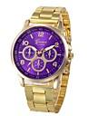 Paar Uhr Armbanduhr Goldene Uhr Quartz Edelstahl Gold Chronograph Armbanduhren fuer den Alltag lieblich Analog Modisch Mehrfarbig Blau Rosa Dunkelgruen / Ein Jahr