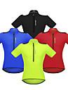 WOSAWE Hombre Manga Corta Maillot de Ciclismo - Rojo Verde Azul Color solido Bicicleta Camiseta / Maillot Bandas Reflectantes Bolsillo trasero Deportes Polyster Ciclismo de Montana Ciclismo de Pista
