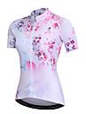 Nuckily Femme Manches Courtes Maillot Velo Cyclisme - Rose Floral / Botanique Cyclisme Shirt Hauts / Top Sechage rapide Des sports Spandex Polyster Fibre de Lait VTT Velo tout terrain Velo Route
