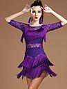 Latein-Tanz Kleider Damen Leistung Modal Spitze / Quaste Halbe AErmel Normal Kleid