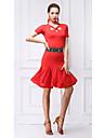 Latein-Tanz Kleider Damen Training Milchfieber Kristalle / Strass Kurzarm Normal Kleid / Unterhose