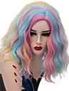 Wig Accessories ウェーブ Kardashian スタイル ミドル部 キャップレス かつら ブルー 虹色 合成 女性用 ファッショナブル ブルー / ピンク かつら ショート