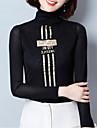 Mulheres Camiseta Listrado / Letra Colarinho Chinês