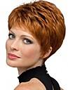 Synthetische Peruecken Glatt Rot Pixie-Schnitt Copper Brown Synthetische Haare 6 Zoll Damen Synthetik Rot / Grau Peruecke Kurz Kappenlos