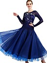 Ballroom Dance Dresses Women\'s Performance Spandex / Organza Ruching / Crystals / Rhinestones Long Sleeve Dress