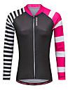 WOSAWE Dame Langærmet Cykeltrøje - Sort Cykel Trøje Toppe Sport Polyester Bjerg Cykling Vej Cykling Tøj / Elastisk / Avansert / Avansert