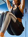Dames Zak Yoga broek Grijs Sport Print Spandex Netstof Hoge taille Fietsen Tights / Lange Broek Legging Zumba Dans Hardlopen Sportkleding Butt Lift Buikcontrole Power Flex 4-weg stretch Rekbaar