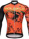 Malciklo Men\'s Long Sleeve Cycling Jersey - Orange Cartoon Bike Jersey Breathable Quick Dry Anatomic Design Sports Cartoon Mountain Bike MTB Road Bike Cycling Clothing Apparel / Micro-elastic