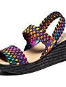 Mulheres Sapatos Confortaveis Couro Ecologico Verao Sandalias Salto Plataforma Preto / Arco-iris / Azul