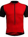 Homens Manga Curta Camisa para Ciclismo Vermelho Azul Black / Orange Cor Solida Tamanhos Grandes Moto Camisa / Roupas Para Esporte Respiravel Esportes Fibra Sintetica Elastico Ciclismo de Montanha