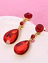 Women\'s Red Crystal Solitaire Drop Earrings Earrings Fashion Jewelry Red For Party Daily 1 set