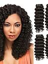 3 bundels Euro-Aziatisch haar Diepe Golf Echt haar / Niet verwerkt Menselijk Haar Menselijk haar weeft / Verlenging / Bundle Hair 8-28 inch(es) Zwart Natuurlijke Kleur Menselijk haar weeft