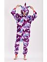 Adults\' Kigurumi Pajamas Unicorn Anime Onesie Pajamas polyester fibre Purple Cosplay For Men and Women Animal Sleepwear Cartoon Festival / Holiday Costumes
