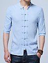 Men\'s Chinoiserie Plus Size Cotton / Linen Shirt - Solid Colored Standing Collar / Spring / Fall