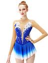 Robe de Patinage Artistique Femme Fille Patinage Robes Bleu royal Fleur Teinture Halo Spandex Fil elastique Haute elasticite Professionnel Competition Tenue de Patinage Fait a la main Mode Manches