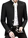 Herre Daglig Plusstørrelser Normal Blazer, Ensfarvet Høj krave Langærmet Bomuld / Akryl / Polyester Sort / Navyblå / Vin XXL / XXXL / 4XL / Forretningsmæssigt afslappet / Tynd