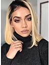 Unbehandeltes Haar Spitzenfront Peruecke Bob Bubikopf EMMA Stil Brasilianisches Haar Silky Glatt Blond Peruecke 150% Haardichte Hitze Resistent Cool mit Clip Glueless Blond Damen Mittlerer Laenge